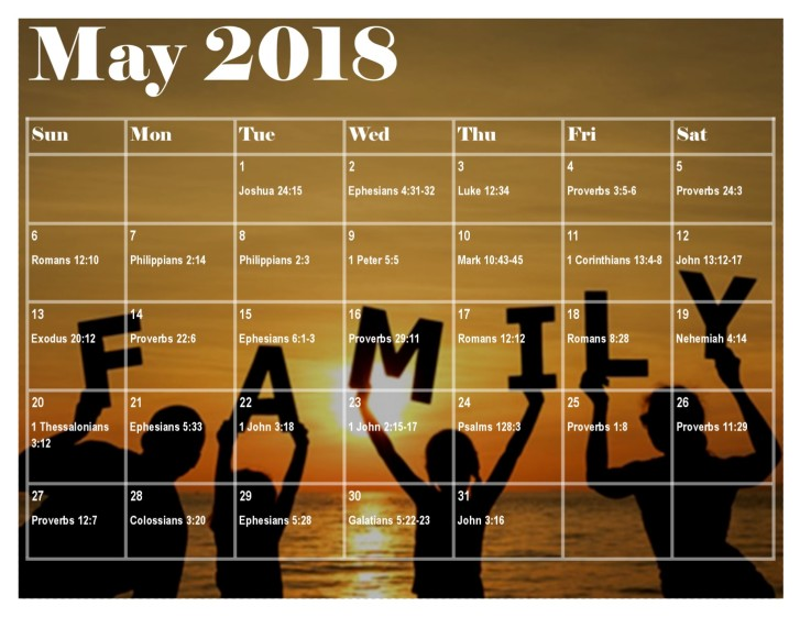 May 2018 Bible Reading Plan